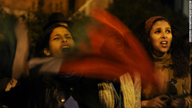 Pro-Palestinian demonstrators protest near the Israeli Embassy in Madrid on Friday, November 16, against Israel's aerial bombardment of the Gaza Strip.