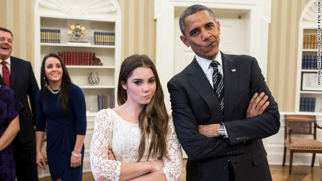 Photo: Obama imitates gymnast McKayla Maroney&#039;s &#039;not impressed&#039; look