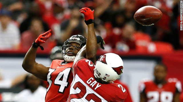 William Gay of the Arizona Cardinals breaks up a reception intended for wide receiver Roddy White of the Atlanta Falcons that resulted in an interception at Georgia Dome on Sunday in Atlanta.