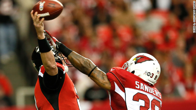James Sanders of the Cardinals pressures Matt Ryan of the Falcons on Sunday.
