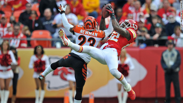 Defensive back Terence Newman of the Cincinnati Bengals breaks up a pass intended for wide receiver Dwayne Bowe of the Kansas City Chiefs during the first half on Sunday at Arrowhead Stadium in Kansas City, Missouri.