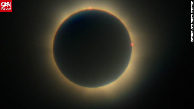 "This was <a href='http://ireport.cnn.com/docs/DOC-881794' target='_blank'>John Lindsay Stevenson's</a> second eclipse. The 52-year-old postman from the small island of Bribie says: ""My father took me to my first eclipse in 1976 when I was 16, but it was totally clouded out and we never saw it. It was a huge disappointment but it was enough to definitely want to experience another.""<br/><br/>"