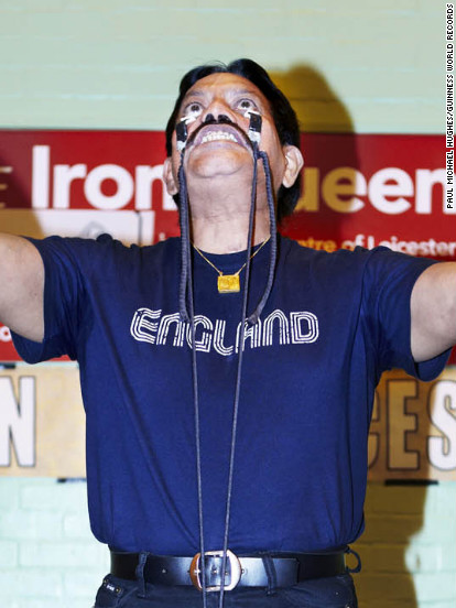 Manjit Singh of the United Kingdom officially has the strongest eye sockets in the world. On November 15, he lifted 24 kilograms (52.91 pounds) from his eye sockets.