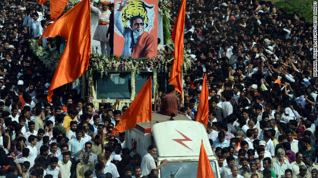 The cortege of Bal Thackeray makes its way through a sea of supporters during the funeral procession. 