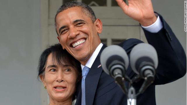 """Obama elogia """"el coraje y la determinación"""" de Suu Kyi en Myanmar"""