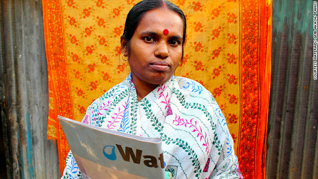 "Alo Rani Mondal in Dhaka, Bangladesh has been a hygiene educator for WaterAid for four years. ""I visit the same houses and tell them the necessity of washing your hands and using shoes to go to the toilet. I tell them how many times and when they should wash their hands. I feel like people listen to me and I feel happy because they are listening to me,"" she says."