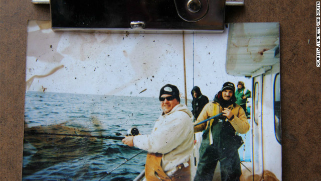 Fishermen face the camera in this snapshot, found and posted on Jeannette Van Houten's Facebook page.