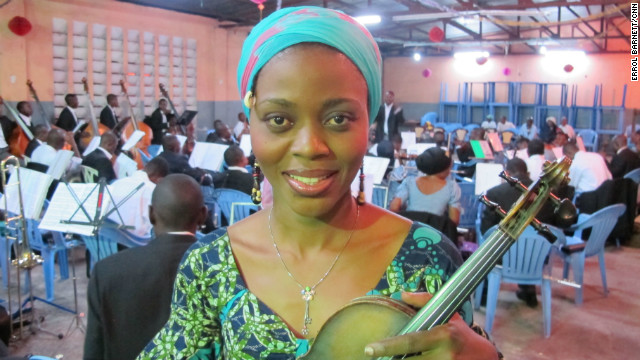 Violin player Pauleth Masamba has been playing with the Orchestre Symphonique Kimbanguiste since the mid-1990s. &quot;Music is one of the things that comforts me, takes off the stress and makes me happy,&quot; she says.