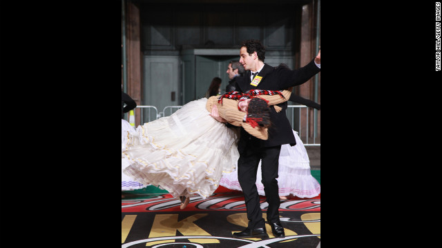 "Santino Fontana as Prince Charming gives Laura Osnes as Cinderella a twirl during rehearsals for the cast of the Broadway musical ""Cinderella."""