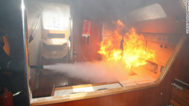 The team also recreated two fires -- one in the galley and one in the engine room. They found powder extinguishers were one of the best methods of putting out a blaze. 