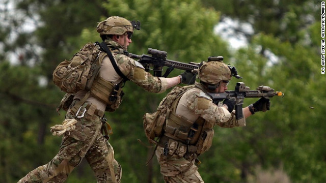 Commandos attack during an exercise at Fort Bragg in April 2012.