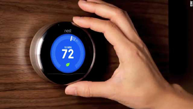 Another bit of the future for your home, the <a href='http://www.nest.com/' target='_blank'>Nest thermostat</a> learns your patterns and automates setting the temperature of your home to save money and energy. The Nest, created by a former iPod designer, costs $249. The company just released an upgraded version that's compatible with almost all heating and cooling systems.