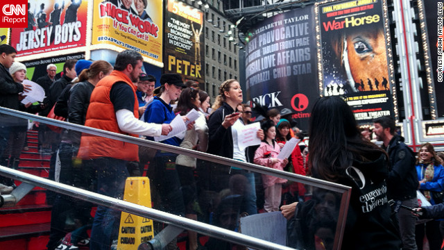 The theater community gives an impromptu concert in Times Square after Sandy.