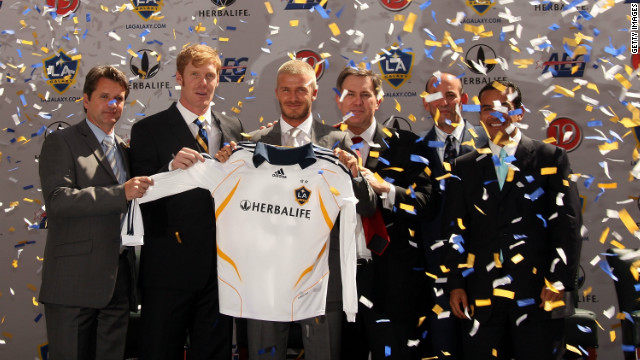 Beckham made the switch to Los Angeles Galaxy in the U.S.'s Major League Soccer in 2007. His stated aim was to raise the profile of soccer in the country.