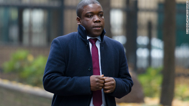 Former UBS banker Kweku Adoboli arrives at Southwark Crown Court in London on Friday.