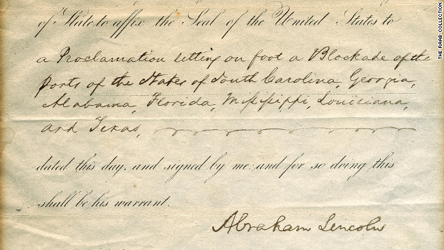 This document, signed by President Abraham Lincoln, authorized the start of the U.S. Civil War in 1861.