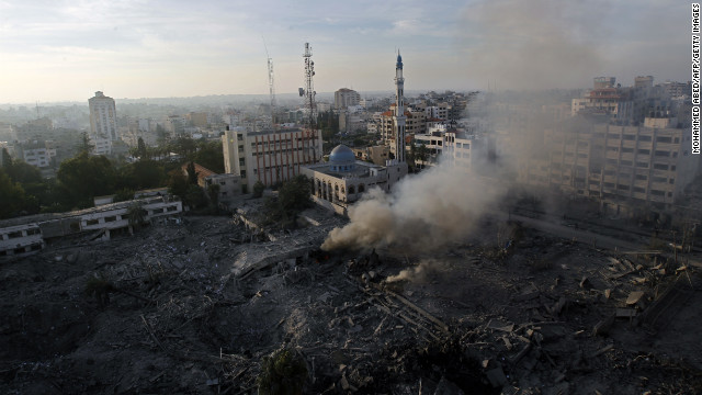 The Ministry of Internal Security compound in Gaza City is in ruins Wednesday after an Israeli airstrike targeted it overnight.