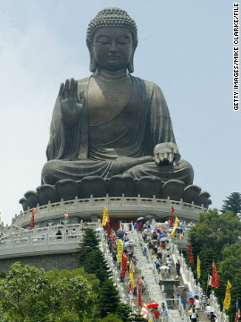Worshippers gather at the giant Buddha at Po Lin Monastery on Lantau Island near Hong Kong. 