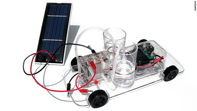 <a href='http://www.horizonfuelcell.com/education_kits.htm' target='_blank'>Horizon's model car</a> ($80) is powered by a reversible polymer electrolyte membrane fuel cell. Assemble the car while learning about renewable energy, then turn it loose. The car drives itself, automatically turning 90 degrees when it hits a barrier.
