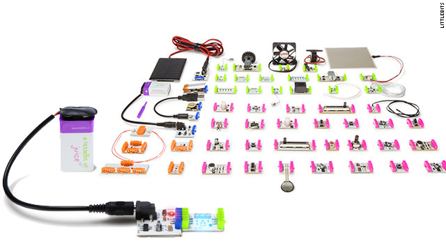 <a href='http://littlebits.cc/' target='_blank'>LittleBits</a> are like electronic Legos. Kids can build little machines with the various circut boards. The pieces snap together and have different functions, such as making sounds, lighting up and acting as motors. The company has a special $49 <a href='http://shop.littlebits.com/products/holiday-kit' target='_blank'>holiday kit</a> for making ornaments and other decorations.