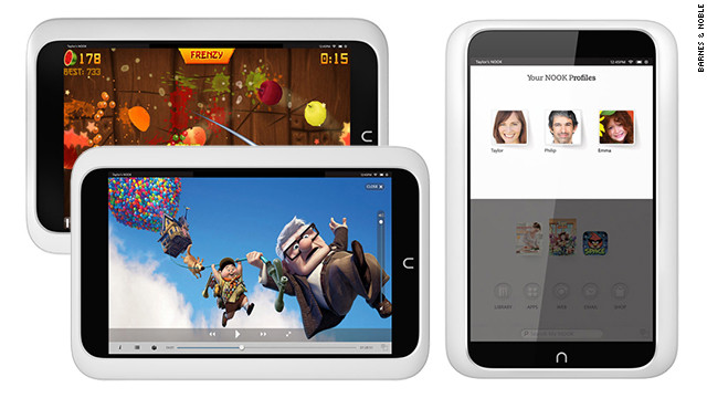 Tablets are flexible devices. You can load them up with games, movies, TV shows and, of course, books. With the Android-based, 7-inch <a href='http://www.barnesandnoble.com/p/nook-hd-barnes-noble/1110060426#nook-commentary-features-1' target='_blank'>Nook HD</a>, you can create individual profiles for the different members of your family. It also has parental controls, so you can keep your kids safe and prevent them from spending all your money in the Barnes & Noble store. The Nook HD starts at $199.