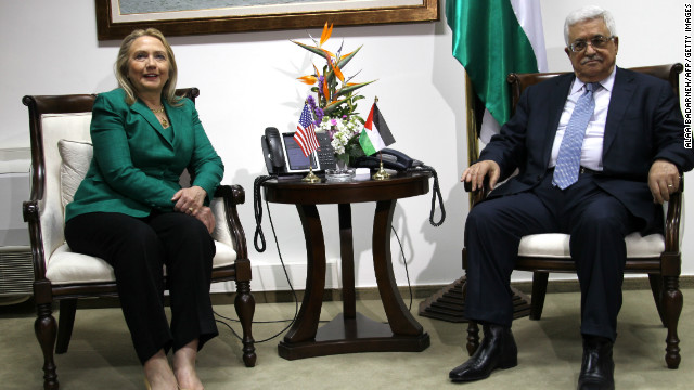 Secretary of State Hillary Clinton meets with Mahmoud Abbas, president of the Palestinian Authority, on November 21.