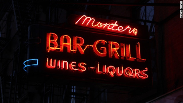 The sign at Montero Bar & Grill on Atlantic Avenue in Brooklyn was made circa 1949 by Corvin Neon Sign Co.