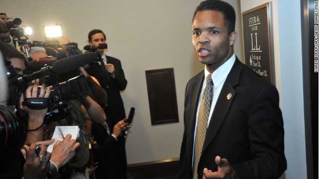 US Rep. Jesse Jackson, Jr., D-IL, speaks to reporters following a Democratic Caucus on August 1, 2011 at the US Capitol in Washington, DC. With time running out before the August 2 deadline to reach an agreement on the debt ceiling, Congress is working to strike a deal that would avoid a potential federal default next week.