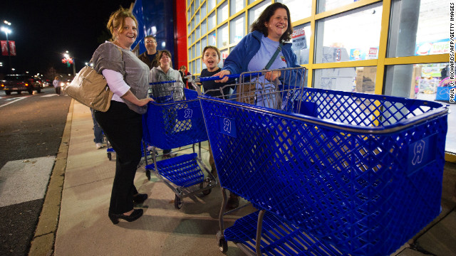 Black Friday shoppers anticipate a great Black Friday haul at the Fair Lakes Shopping Center in Fairfax, Virginia, on November 24, 2011.