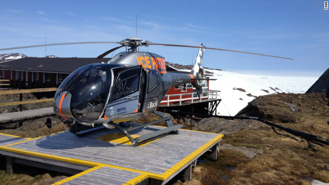 Ice Patrol helicopter after landing at the Pince Kristian Sund weather station.