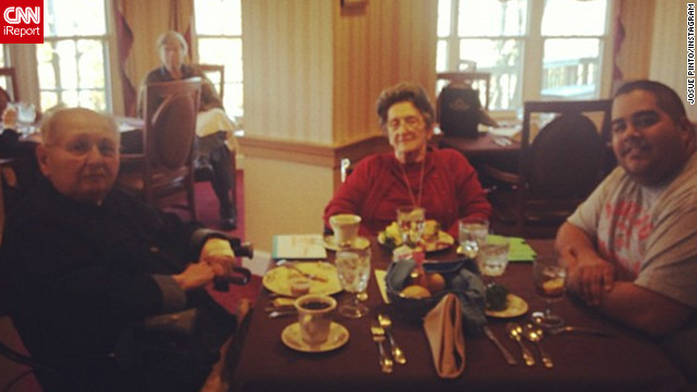 "Josue Pinto of Washington is grateful to have been able to spend time on Thanksgiving with ""two lovely and hilarious ladies."""
