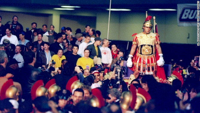 Before the 1997 fight with Leonard, Camacho heads toward the ring dressed as a Roman soldier.