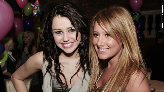 "In 2008, Cyrus starred in the 3-D concert film, ""Hannah Montana & Miley Cyrus: Best of Both Worlds."" Here, she and Ashley Tisdale embrace at the film's premiere after party."