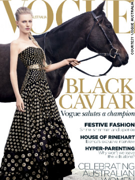 Champion thoroughbred Black Caviar appears on the December issue of Vogue Australia. It is the first time in the 53-year history of the magazine that a horse has featured on the front cover.