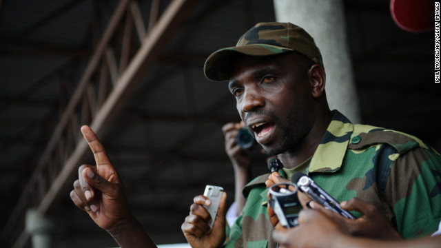 Spokesman of the M23 rebel group Lieutenant-Colonel Vianney Kazarama addresses a crowd at the Volcanoes Stadium in Goma on November 21, 2012.
