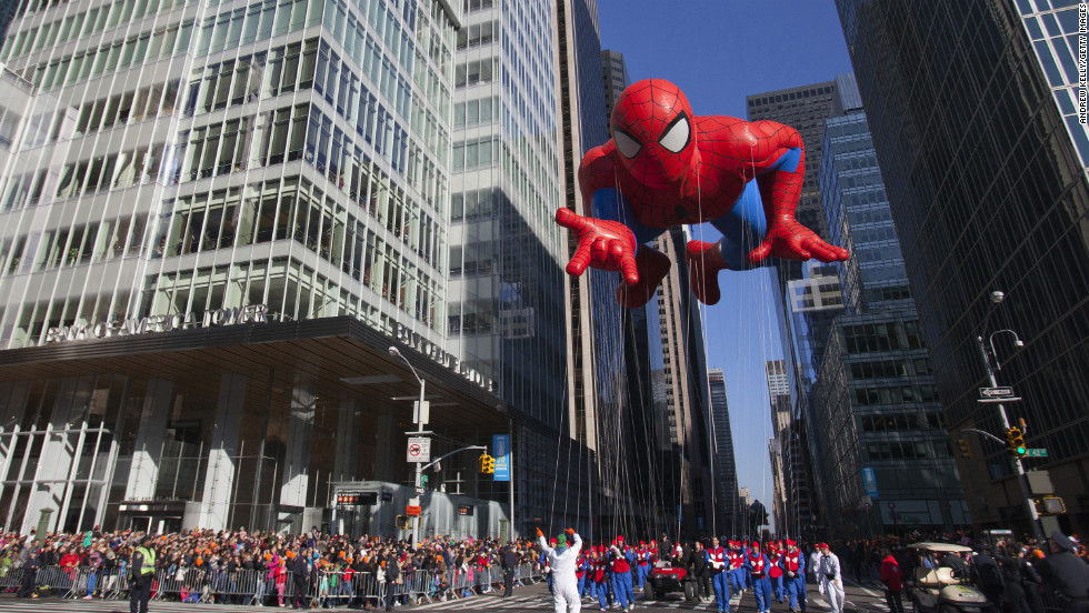The Spiderman balloon makes its way down Sixth Avenue during the 86th Annual Macy's Thanksgiving Day Parade in New York on Thursday, November 22. A holiday staple, the parade draws a crowd of more than 3 million people annually.