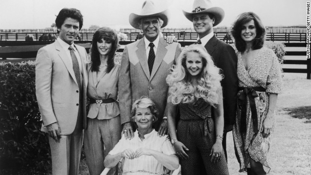 The &quot;Dallas&quot; cast included Patrick Duffy, left, Victoria Principal, Jim Davis, Charlene Tilton, Larry Hagman, Linda Gray and Barbara Bel Geddes.