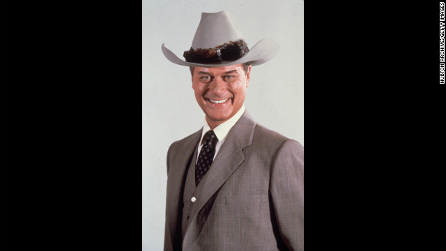"Hagman poses for a portrait as his ""Dallas"" character J.R. Ewing in 1985."