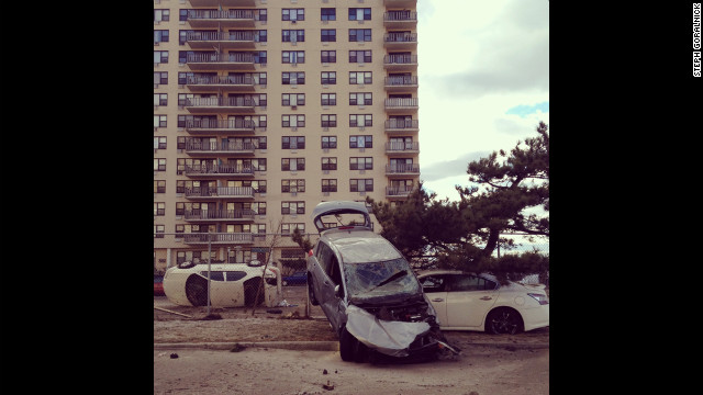 A parking lot in Rockaway Beach shows the force of the storm. Goralneck joined a volunteer group known as the Rockaway Renegades to organize the relief effort. 