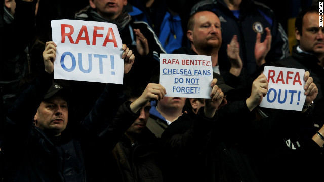Chelsea fans make their feelings known during Rafael Benitez's first game in charge at Stamford Bridge.