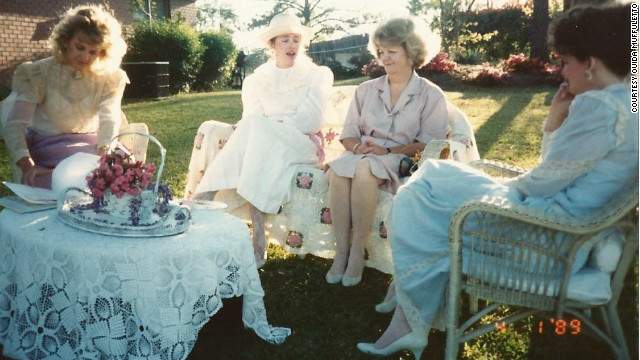 Sherry Downs, left, Susan Mason, Margaret Wright and Margaret Collins Jenkins were inspired by Victorian magazines to host this tea party with their grandmothers' linens, tea pots and flowers from the yard in 1989.