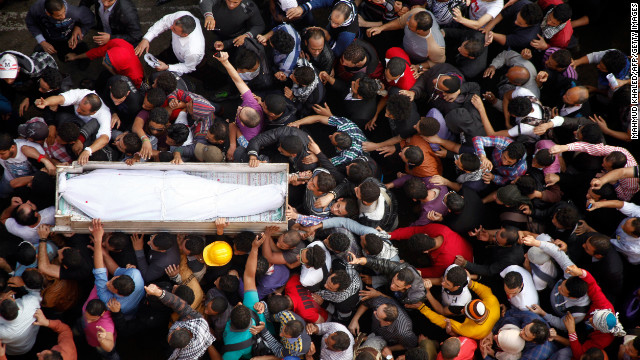 "Activists in Cairo's Tahrir Square on Monday, November 26, carry the coffin of Gaber Salah, an activist who died overnight after he was critically injured in clashes in Cairo. Salah, a member of the April 6 movement known by his nickname ""Jika,"" was injured last week during confrontations between police and protesters on Cairo's Mohammed Mahmud street."