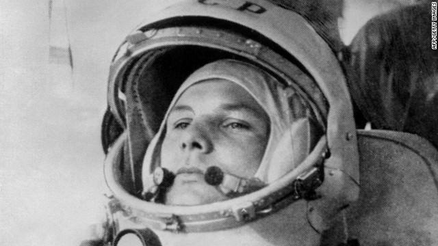 Soviet pilot and cosmonaut Yuri Gagarin made history as the first human to fly into space. On April 12, 1961, Gagarin took off in the Vostok 1, orbited the Earth and parachuted back to firm ground. Gagarin, 27, prepares to board Vostok before takeoff.
