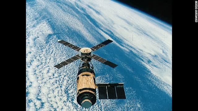 Skylab, the U.S.'s first space station, orbited Earth from 1973 to 1979. The Soviet program had launched their first space station, Salyut, in 1971, and it stayed in space for 15 years.