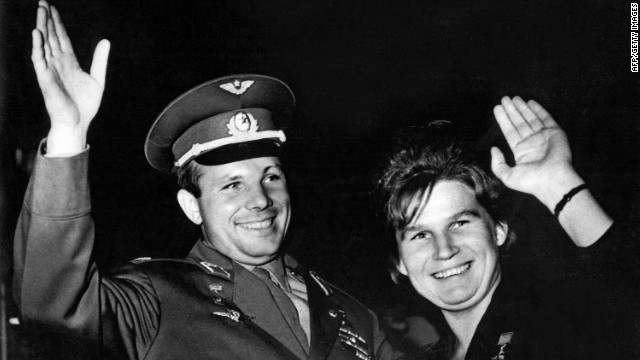 Valentina Tereshkova piloted the Vostok 6 on June 16, 1963, becoming the first woman to fly into space. Cosmonaut Yuri Gagarin and Tereshkova wave to well-wishers in the Soviet Union in 1963.