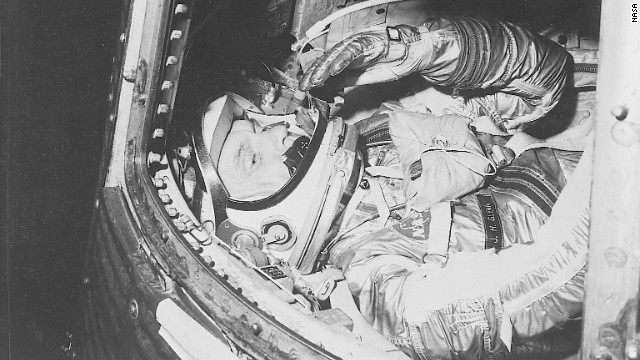 John Glenn, aboard the Friendship 7, became the first American to orbit the planet on February 20, 1962. He also set a record as the oldest astronaut in space when, at the age of 77, he went on a mission aboard the Space Shuttle Discovery in November 1996.