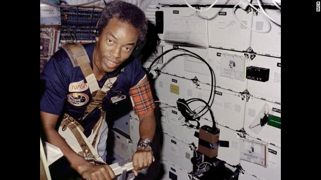 "Guion ""Guy"" Bluford was the first African-American to go into space as a mission specialist on Space Shuttle Challenger on September 5, 1983. Bluford exercises on the treadmill."