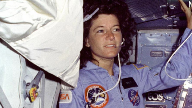 Sally Ride became the first American woman to go space on June 18, 1983, on the second flight for the Space Shuttle Challenger. Ride floats alongside the middeck airlock hatch. 