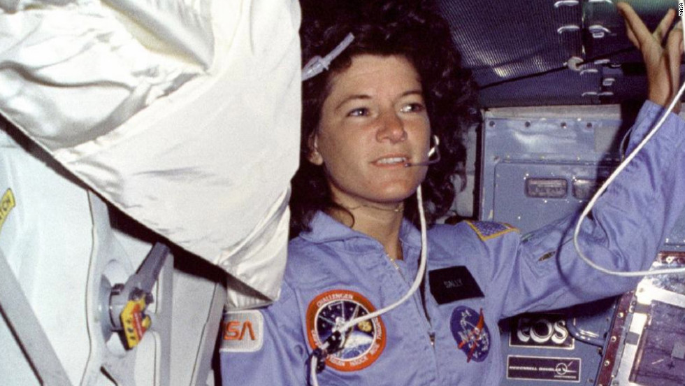Sally Ride became the first American woman to go into space on June 18, 1983, on the second flight for the Space Shuttle Challenger. Pictured, Ride floats alongside the middeck airlock hatch. Here's a look at some other milestones in space: