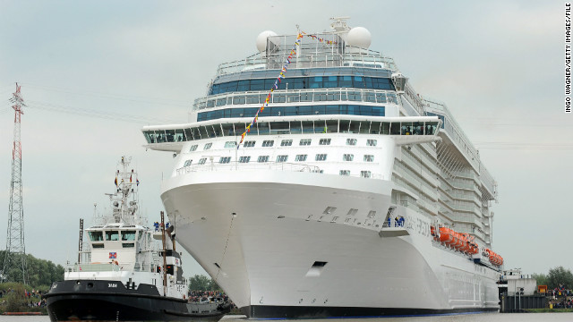 "The Celebrity Reflection, shown in September leaving the German shipyard where it was built, offers ""AquaClass Spa Suites"" with full-time butlers and private verandas."